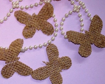 Set of 50 Burlap butterflys Shapes-for Rustic Wedding-party