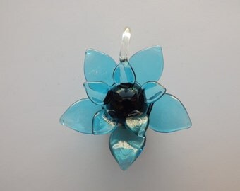 Large Blue Lampworked Glass Flower Pendant - Transparent Petals with Opaque Black Center