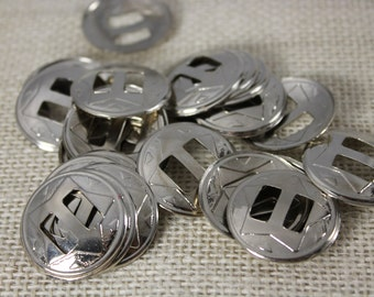 Vintage Silver Round Star Conchos (6 pieces)