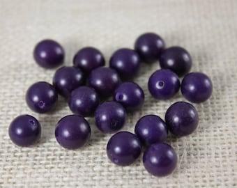 Vintage 10mm Purple Buri Beads (19 Beads)