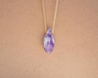 Raw Amethyst Gemstone Crystal Necklace. February Birthstone.