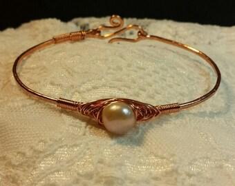Bangle Bracelet, Copper Bracelet, Copper Bangle, Copper and Pearl Bracelet, Boho Bracelet