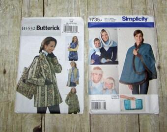 137)  Simplicity 1735  Misses S M L Cape Poncho Jacket  Butterick  5532  Misses Size 8-14 Jacket