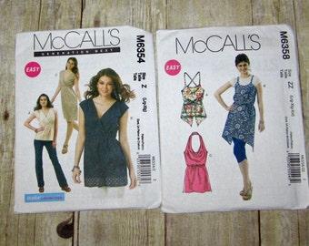 159)  McCalls 6358 Misses Size 16-26 Halter Tops  Mccalls 6354 Misses Size 16-22 Tunic top Dress