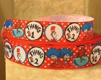 5 YDS Dr Seuss' Thing 1 Thing 2 Ribbon
