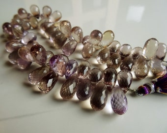 Eye clean AAA+ Natural Ametrine Briolette Faceted Drops 10-13 mm 8x1/2 inch strand-Best Price