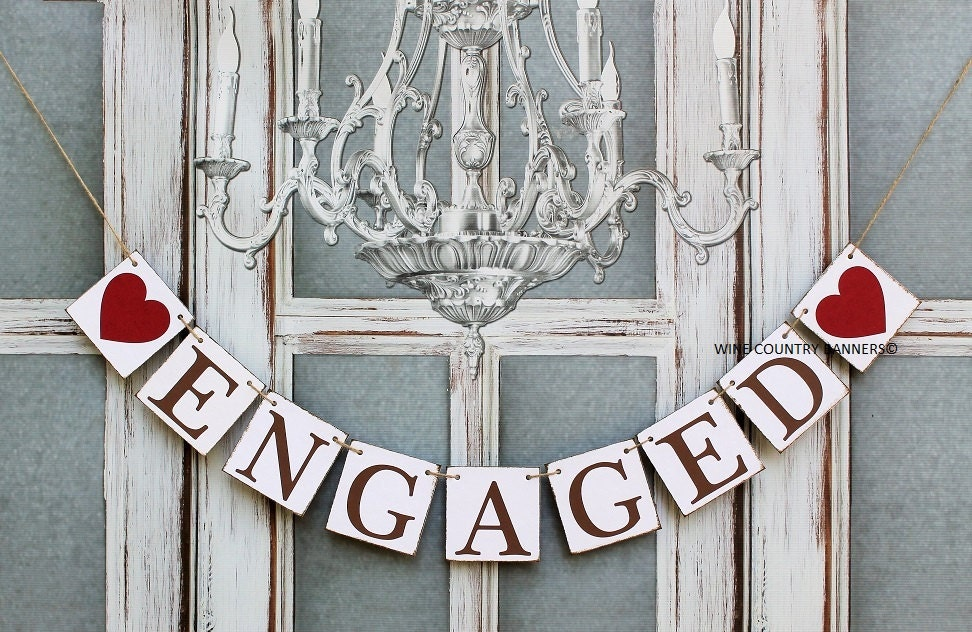 ENGAGED SIGNS-Engagement BANNERS-Rustic Wedding
