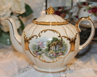 Sadler Teapot England 2253MD Thatched Roof Cottage and Garden  Full Sized Stunning Large Bright and Shiny