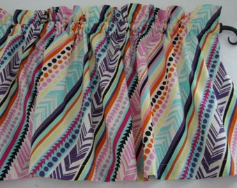 Valance Curtain for Girl's Room Colorful Pastel Tribal Southwest on Diagonal