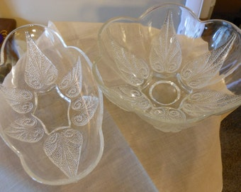 Glass Bowls with Raised Paisley Leaf Pattern