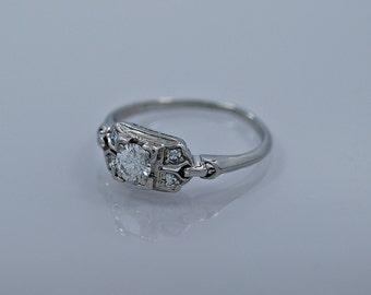 0.30ct. Diamond & Platinum Art Deco Engagement Ring- J34534