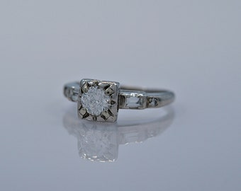 0.46 ct. Antique Platinum & Diamond Art Deco Engagement Ring- J33125