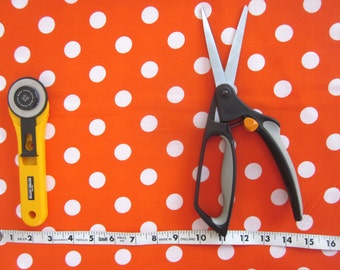 Orange and White Polka Dot Fabric, One yard, Cotton Fabric, Quilting Fabric