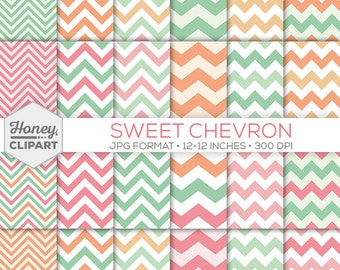 Peach, Mint and Pink Chevron Digital Paper - Zigzag Stripe Background Pattern Graphics - Sweet Pastel Chevron Party Printable Craft Sheets