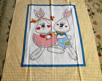 TWO LOVEABLE BUNNIES Quilt Top Fabric Panel