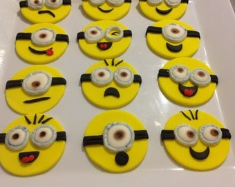12 fondant Minions cup cake toppers.