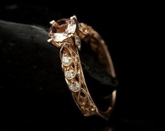 Fatima - Morganite & Diamond Engagement Ring in Rose Gold, Round Brilliant Center with Filigree, Milgrain and Diamond Accents, Free Shipping
