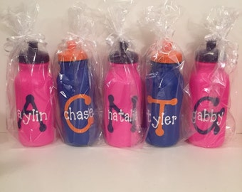 Personalized sports bottle with initial and name
