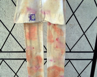 Cotton-Polyamide Tights L Naturally Dyed by Hand with Leaves and Herbs. Contact dyeing. Eco Print.