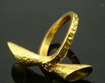 1 pc Gold plated Adjustable Brass ring 22 mm with 5 - 5 mm base setting 544