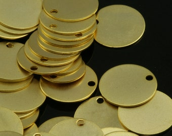 gold plated tag 10 pcs  12 mm gold plated brass 628