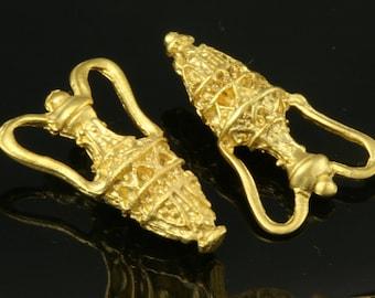 2 Pcs Gold Plated Brass Amphora  finding charm pendant 22 mm 210