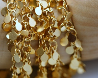 1 mt 3,3 feet gold plated Brass soldered Chain with 4 mm tag 824