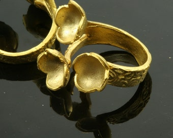 1 pc  Gold plated Adjustable Brass ring 27 mm with 9 - 9 - 9 mm base settin 542