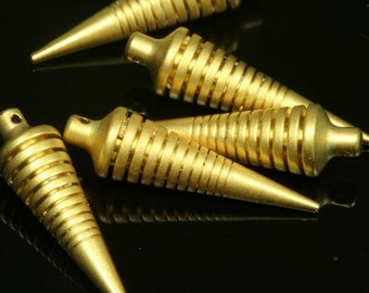 1 pc 7x27 mm gold plated spike pendant brass gold plated brass 734