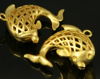 2 pcs 26 mm gold plated brass fish finding charm pendant 224