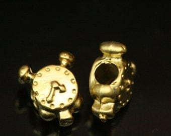 4 pcs 12 mm  gold plated alloy bead clock finding charm pendant  bead 873