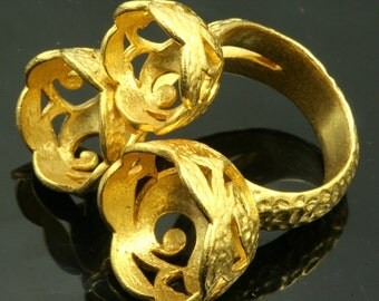 1 pc  Gold plated Adjustable Brass ring 27 mm with 10 - 12 - 14 mm base setting 546