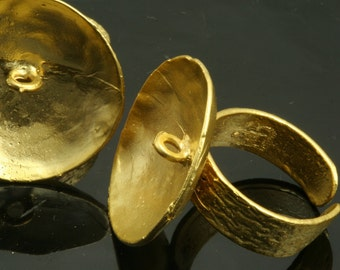 adjustable brass ring 1 pc  gold plated 25 mm with base setting 549