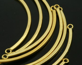 2 pcs  45x2 mm gold plated brass curve connector charm pendant 649