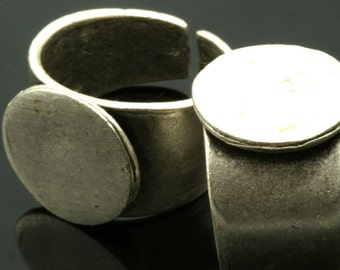 Brass Adjustable ring 1 pc Silver plated with 15 mm base setting 537
