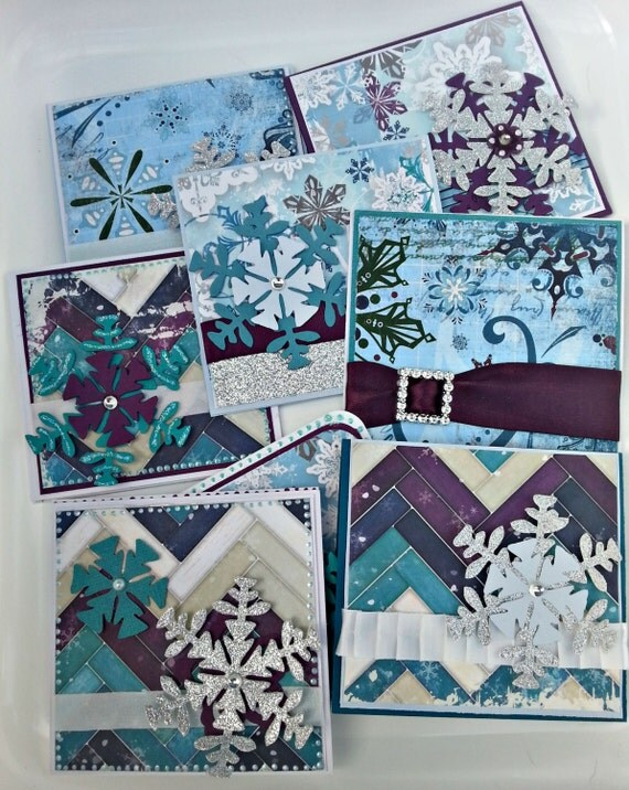 Custom order Christmas Gift Card Holder Greeting Card. Ready to Ship. Teal, Purple, Blue and White. Frosty Snowflakes.