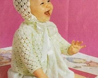 baby matinee coat and bonnet set vintage crochet pattern PDF instant download