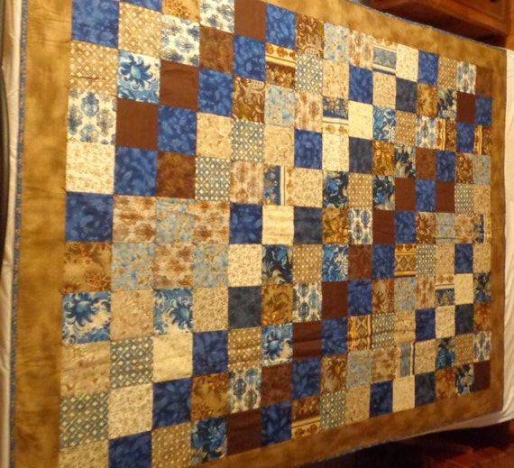 "Hand Tied Quilt - Patchwork - Blue and Brown - 57"" x 75"" - hand tied quilt - tack quilt - patchwork - twin size - READY TO SHIP"