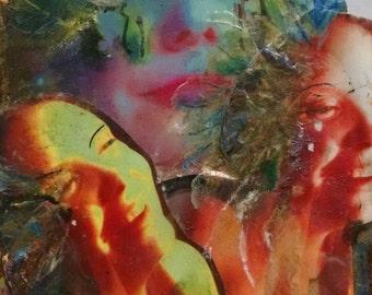 Original Mixed Media Art Collage - Contentment