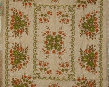 1960s 1970s Vintage Retro Tablecloth with Fringed Edges Green and Rust Roses Floral Print Very Unusual Burlap Style Fabric Rustic Chic