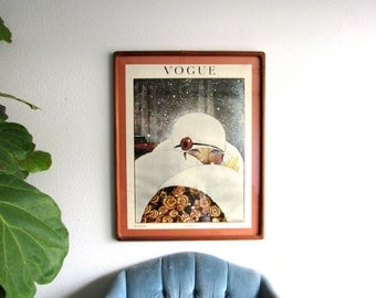 Vintage 70's Vogue Print from 1919 // Photo Framed Print Picture Wall Hanging Art