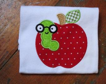 Apple Bookworm Appliqued T-shirt