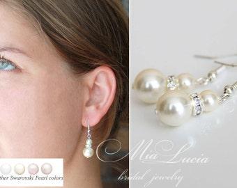 Bridal Earrings, Drop Pearl Earrings, Ivory Pearl Earrings, Wedding Earrings, Bridal Jewelry,  art. 222-3