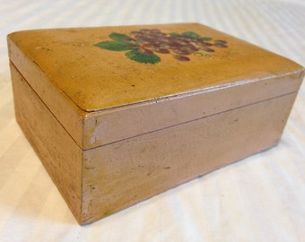 Vintage Wood box with Grape Motif accent on top
