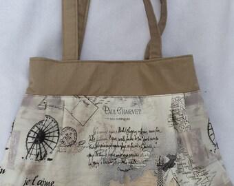 Ladies handbag  womens beige Paris shopping shoulder bag