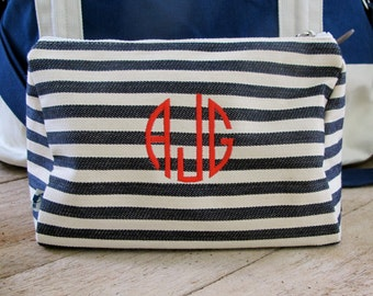 Cosmetic Bag- Denim stripe canvas with monogram of your choice