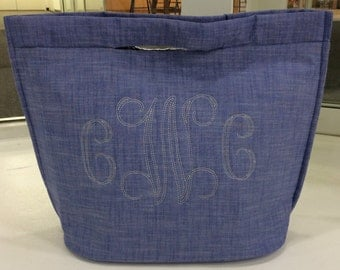 Insulated Cooler Tote- Chambray with monogram