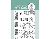 Deck the Halls 3x4 Clear Stamp Set Holiday Christmas Cat