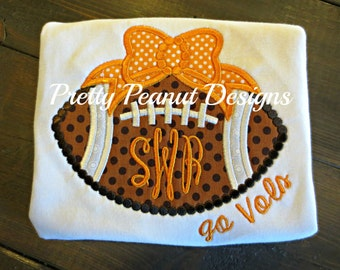 Dotted Football with Bow or Onesie - Tennessee Volunteers - Made to Match your Team - Matching Leg Warmers and Bow