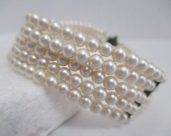 Vintage Japanese 5 Lines of Fine Cultured 4 mm Round Pearls Bracelet w/ Silver Safety Chain.